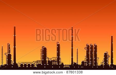 Silhouette of oil refinery or chemical plant