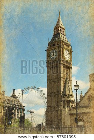 Big Ben, London, UK. View from Abingdon street.  Photo in  grunge and retro style.  Added paper texture