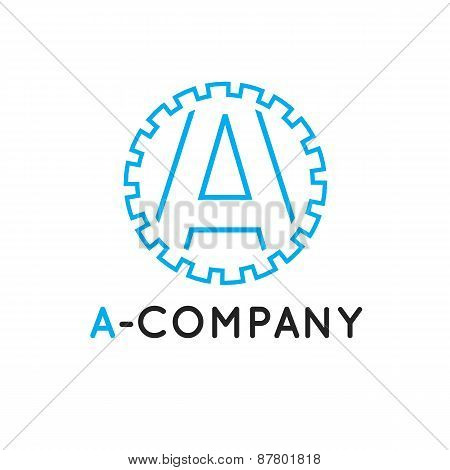 Vector minimalistic outline blue A letter logotype. Cogwheel logo