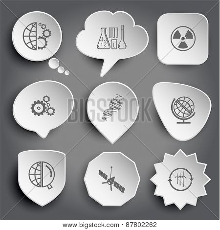 globe and gears, chemical test tubes, radiation symbol, dna, globe and magnifying glass, spaceship, wind turbine. White raster buttons on gray.