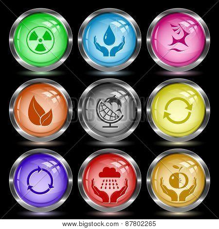 Ecology set. Internet button. Raster illustration.