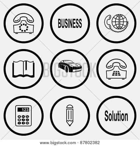 Business set. Black and white set raster icons.