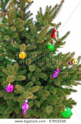 Christmas Tree Decorated With Toys Close-up