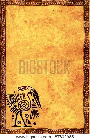 Background with American Indian national patterns and paper texture