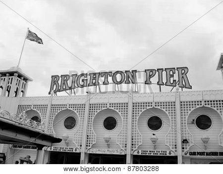 Brighton, England, UK - January 2015: Entrance of Brighton Pier