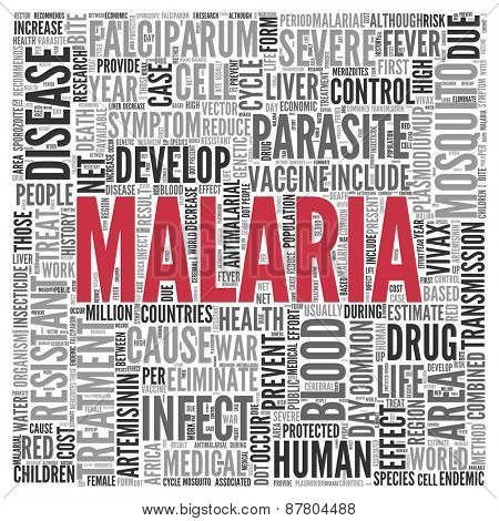 Close up Red MALARIA Text at the Center of Word Tag Cloud on White Background.