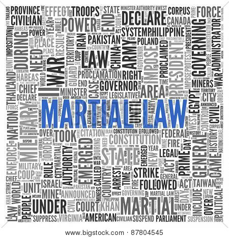 Close up Blue MARTIAL LAW Text at the Center of Word Tag Cloud on White Background.