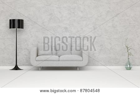 Elegant White Couch in an Architectural White Living Room, with Abstract Wall, Decorated with Standing Lampshade and Flower Vase. 3d Rendering.