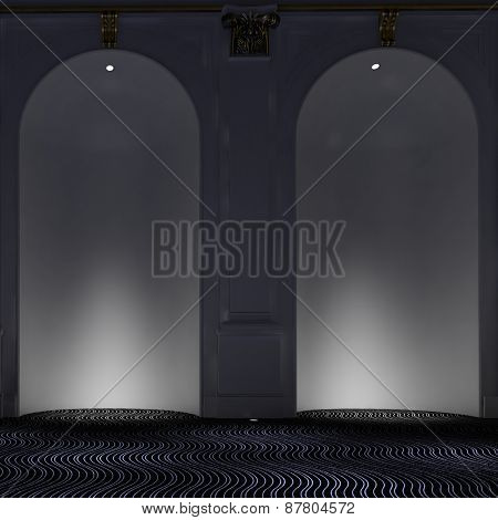 Two empty elegant arched alcoves with down lights illuminating the interiors over a modern carpet with wavy design. 3d Rendering.