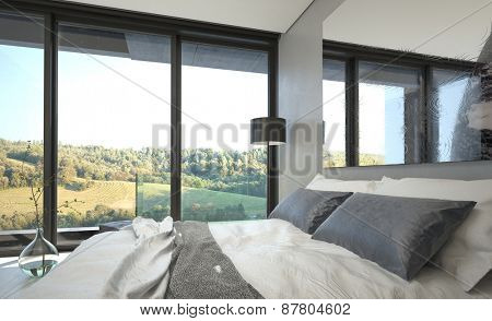 Elegant Gray and White Bed in Queen Size Inside an Architectural Room with Glass Windows Where Outdoor View Can be Seen. 3d Rendering.