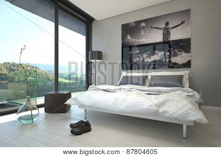 Relaxing Architectural Bedroom Design Decorated with Vase, Chairs, Lamps and Artwork with Overlooking Natural View from Glass Windows. 3d Rendering.