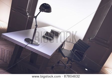 Interior of a corporate directors office with an uncluttered long desk, anglepoise lamp and office chair with architectural pillar detail, tilted angle close up view. 3d Rendering.