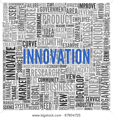 Close up INNOVATION Text at the Center of Word Tag Cloud on White Background.