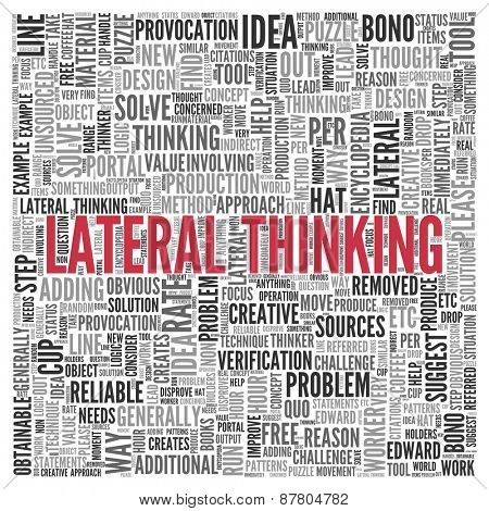 Close up Red LATERAL THINKING Text at the Center of Word Tag Cloud on White Background.