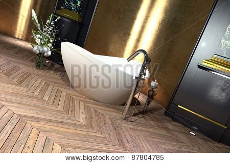 Modern freestanding boat shaped bathtub in a classical bathroom interior with hardwood parquet floor with herringbone pattern. 3d Rendering.