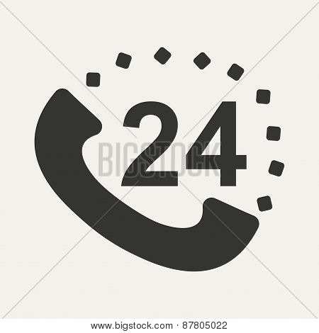 Flat in black and white mobile application call around clock