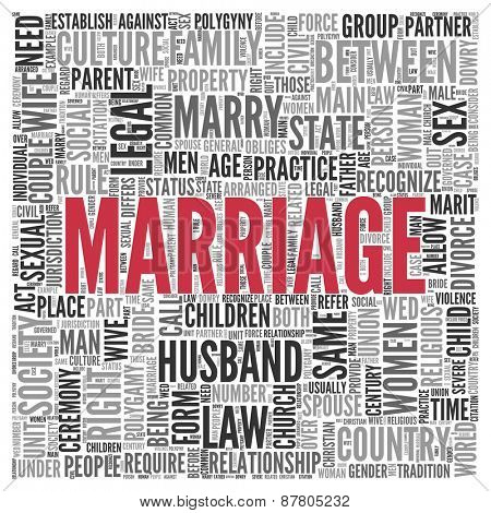 Close up Red MARRIAGE Text at the Center of Word Tag Cloud on White Background.