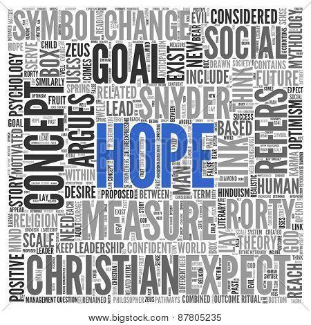 Close up HOPE Text at the Center of Word Tag Cloud on White Background.