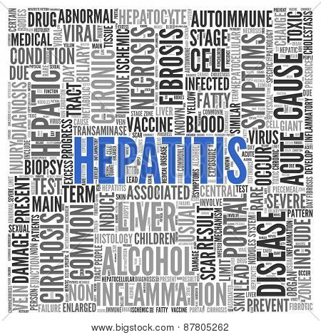 Close up HEPATITIS Text at the Center of Word Tag Cloud on White Background.