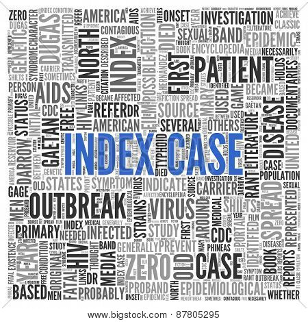 Close up INDEX CASE Text at the Center of Word Tag Cloud on White Background.