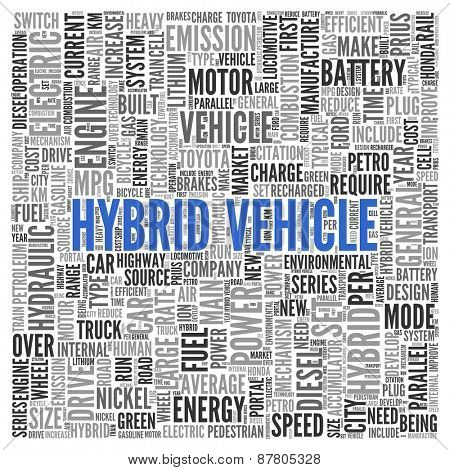 Close up HYBRID VEHICLE Text at the Center of Word Tag Cloud on White Background.