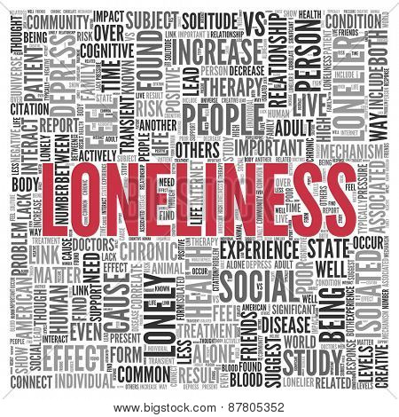 Close up Red LONELINESS Text at the Center of Word Tag Cloud on White Background.
