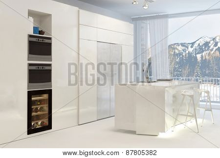 Clean White Modern Kitchen with Center Island and View of Snow Covered Mountain Through Windows. 3d Rendering.