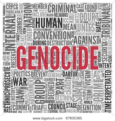 Close up GENOCIDE Text at the Center of Word Tag Cloud on White Background.