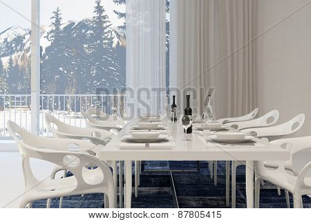 Modern Dining Room with White Table and Chairs Set for Meal with Wine Inside Home with Winter Landscape View. 3d Rendering.