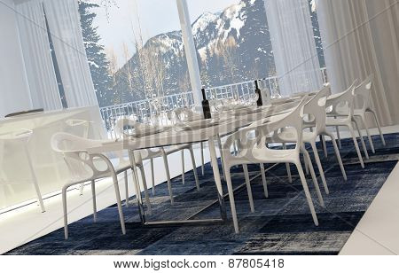 Angled View of Modern White Dining Room Set for Meal with Wine with View of Snowy Mountains Through Window. 3d Rendering.