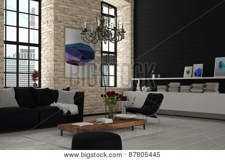 Attractive Elegant Modern Architectural Lounge Room with Black and White Furniture. 3d Rendering.