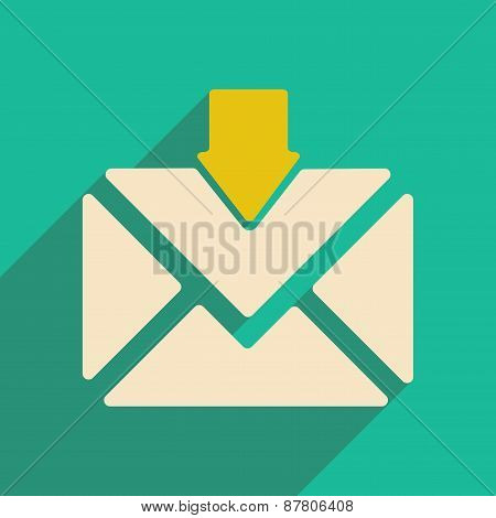Flat with shadow icon and mobile applacation envelope