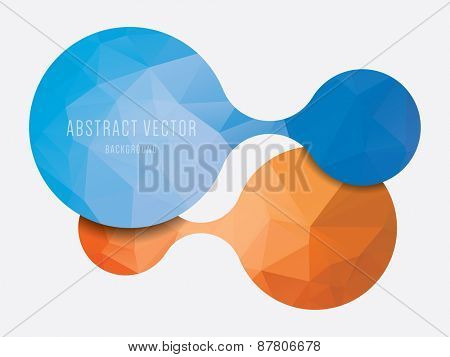 vector abstract polygonal background, modern orange and blue colors