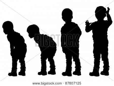 Silhouettes of a little boy on a white background