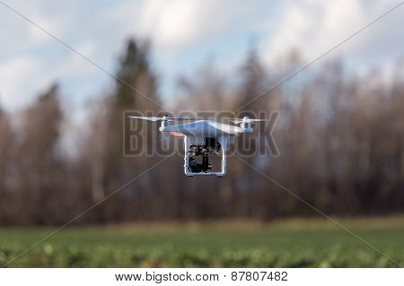 Small Drone Above The Field