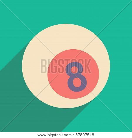 Flat with shadow icon and mobile applacation billiard balls