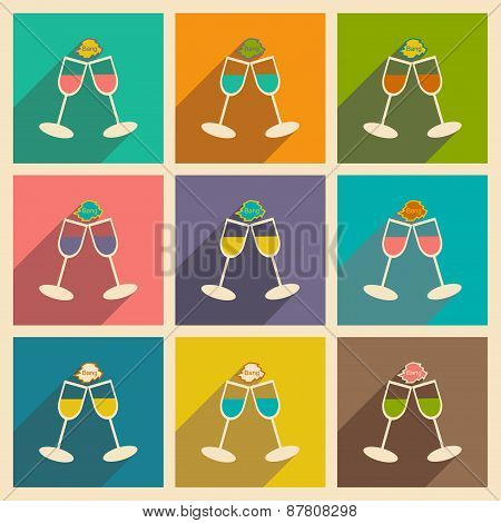 Flat with shadow icon and mobile application wedding wineglass