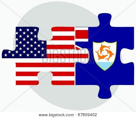 Usa And Anguilla Flags In Puzzle
