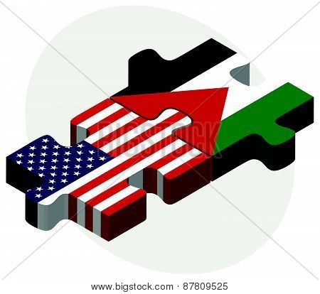 Usa And State Of Palestine Flags In Puzzle