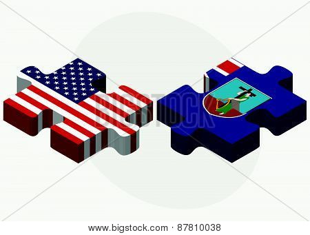 Usa And Montserrat Flags In Puzzle