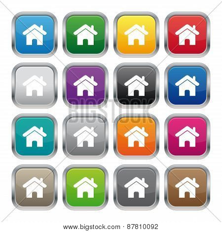 Home Metallic Square Buttons