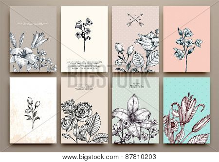 Vintage Floral Cards Set. Frame with Engraving Flowers. Botanical Illustration with Roses, Lilies an