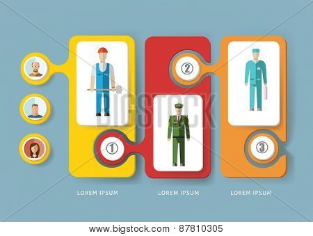 Infographic people of different professions. Flat design illustration
