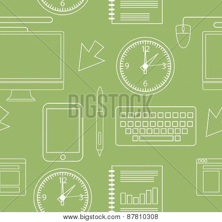 Seamless background computing and time management, Vector Illustration