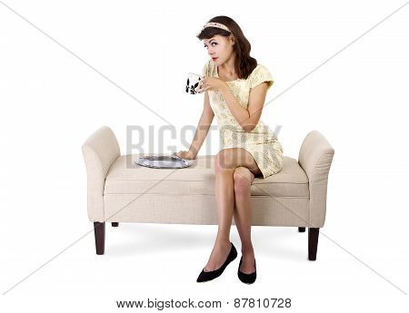 Woman Sitting and Having Coffee