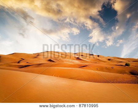 sandy desert on background at sunset