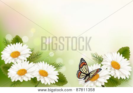 Summer background with yellow beautiful flowers and butterfly.