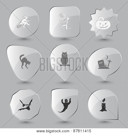 Mystic signs set. Raster glass buttons.