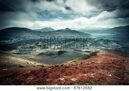 beautiful mountain landscape with volcanoes in Timanfaya National Park in Lanzarote, Canary Islands