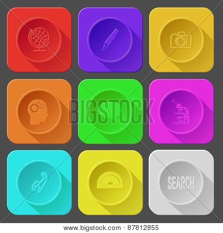 globe, felt pen, camera, human brain, chat symbol, lab microscope, french curve, protractor, search. Color set raster icons.